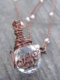 copper love wire wrap crystal ring necklace by luvalisa