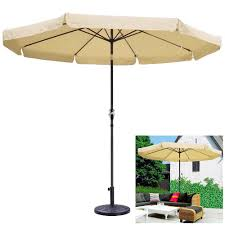 10ft aluminum outdoor beige patio umbrella 8 ribs w valance crank tilt base stand