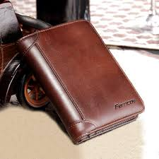 hot ferricos rfid antimagnetic genuine leather vintage tri fold large capacity short wallet for men newchic