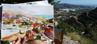painting of valley in frigiliana spain