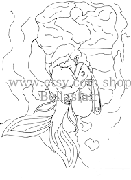 Hand Drawn Mermaid Mythical Coloring Page