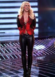 she works out britney spears wore leather trousers as she appeared on the x factor