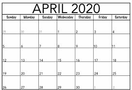 Free Printable April 2020 Calendar Template Pdf Word Excel