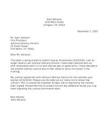 Business Termination Letter Business Contract Termination Letter