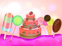 Candy Land Background Birthday Cake Lollipops And Ice Cream
