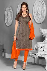 Chanderi Combo Salwar Suit In Brown And Beige Colour