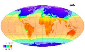 Климат Википедия Среднемесячные температуры поверхности с 1961 по 1990 год Это пример изменения климата в зависимости от расположения и времени года