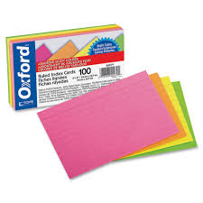 Oxford Glow Ruled Index Card 3 X 5 Inches Multiple Color Pack