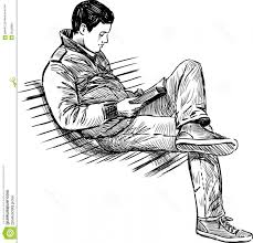 person sitting vector graphics stock image young man reading book vector drawing park bench image