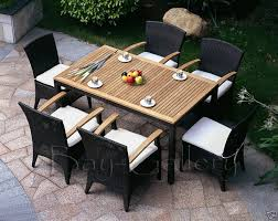wicker patio dining chairs. KAI 6 - 7 Piece Raw Natural Teak And Wicker Outdoor Dining Patio Chairs