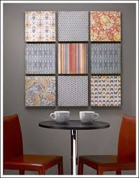 easy inexpensive wall art. this budget decorating idea is from craftsncoffee.com diy wall art project uses scrapbook paper! the paper mounted on a sheet of styrofoam brand easy inexpensive d