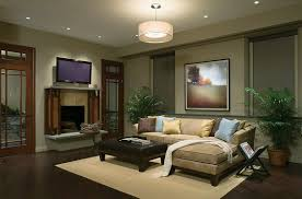 ... Living Room Lighting Ideas Most Recommended Design Parquete Floor  Hanging Shade Lamp Spotlights Cream Fabric Sofa ...
