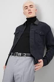 faux leather collar denim jacket