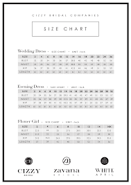Size Chart Zavana Bridal
