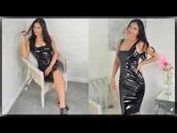 PVC Dress Review With Cassie Clarke - Black Shiny PVC Dress - YouTube | Pvc  dress, Dresses, Black dress