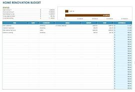 House Renovation Spreadsheet Template Naomijorge Co
