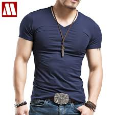 Men's Tops Tees <b>2019 summer new</b> cotton <b>v neck</b> short sleeve t shirt ...