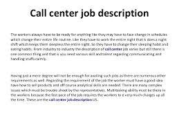 Call Center Job Description