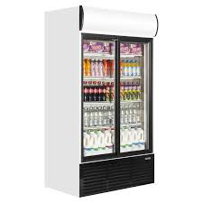 caravell cbc803 upright glass door display fridge white sliding door
