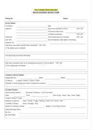 Vehicle Accident Report Form Template Police Blank Best Of