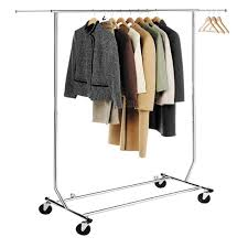 Folding Coat Rack HLC Chrome Collapsible Adjustable Single Rail Rolling Commercial 97