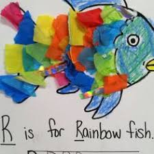 used silver curly ribbon tissue paper and cardstock for my tracing from the book the rainbow fish