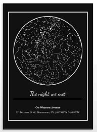 Birthday Sky Chart Star Map Night Sky Chart Wall Decor Gift For Girlfriend