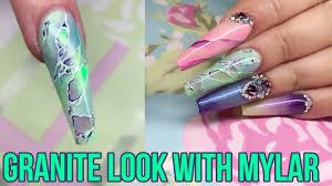Mylar Nail Designs Spring Mylar Granite Nail Art Nail Design Nails Magazine