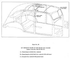 Body wiring for 1937 chevrolet de luxe sedans and coaches