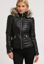 morgan morgan craie faux leather jacket noir ir09685 coat womens clothing
