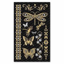 Metalické Tetování Na Tělo Motýl Zlatý