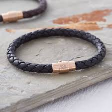 men s personalised rose gold clasp leather bracelet