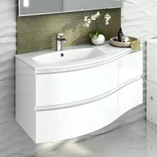 wall mounted sink cabinet high gloss white curved vanity unit left hand wall hung