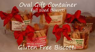 oval canisters filled gluten free biscotti
