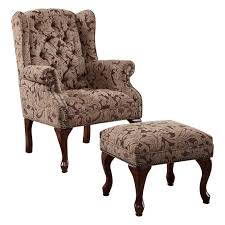 Coaster Queen Anne Button Tufted Wing Accent Chair With Ottoman In Chenille  Fabric Queen Anne Armchair N2