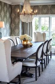 wing chair dining room restoration hardware salvaged wood trestle rectangular extension dining table lined with black