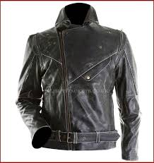 black brando distressed biker cow hide leather jacket