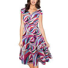 <b>MAYFULL Women</b> V Collar <b>Print</b> Waist Stretch Big Swing Princess ...