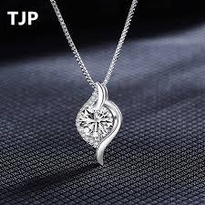TJP Shiny Female Cubic Zirconia Water drop Pendant Necklace ...