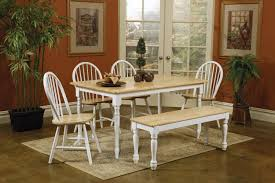 Butcher Block Kitchen Tables Picture Of Natural Butcher Block Kitchen Table Set In White With Bench