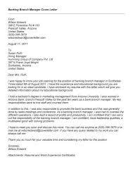 Sample Cover Letter For Bank Branch Manager Milviamaglione Com