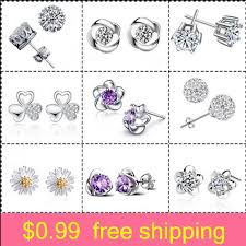 Silver Stud Earrings jewelry <b>Korean version Fashion</b> Lovely SI925 ...