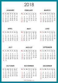 Nyc Design Calendar 2018 Calendar Printable Free Blue Monday Start