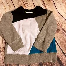 Fab Kids Blue Gray And Black Colorblock Sweatshirt