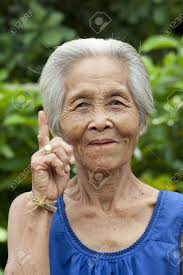 Portrait Old Woman Asia Friendly Senior With Grey Hair Stock