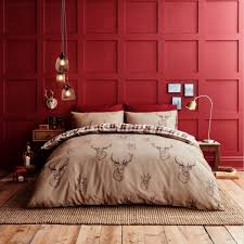 catherine lansfield stag red check duvet cover set hover to zoom