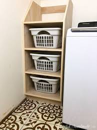 How to build a shelf unit Ana White Organize Your Laundry Room With This Stackable Laundry Basket Storage This Easy To Build Shelf Houseful Of Handmade Stackable Laundry Basket Storage Houseful Of Handmade