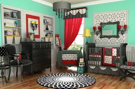 bedroom : Green Painted Baby Bedroom With Black White And Red Bedding Set  Wit Curtain And Rounded Area Carpet With Black And White Crib Bedding Plus  Black ...
