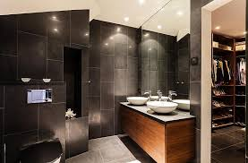 stylish interior design open bathroom with concrete tile floor and wall design for inspiration