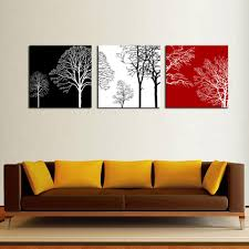 2018 3 picture canvas painting wall art black white and red tree painting with wooden framed picture for home decor gifts ready to hang from amesiart